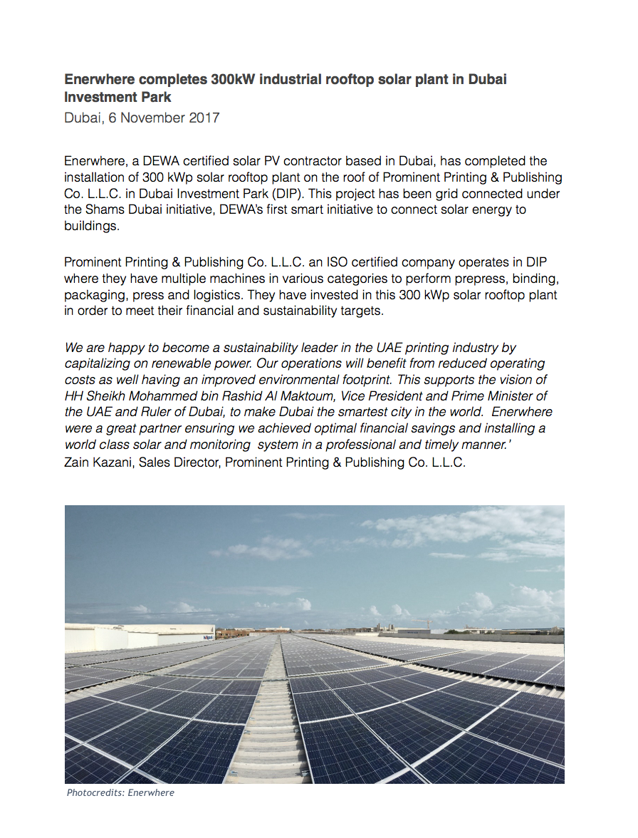 Prominent Printing Press Release Enerwhere Solar Panel Parallel Wiring Multiple Download The Here